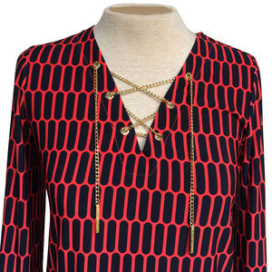 Michael Kors Black Red Gold Chain Lace Up Blouse S
